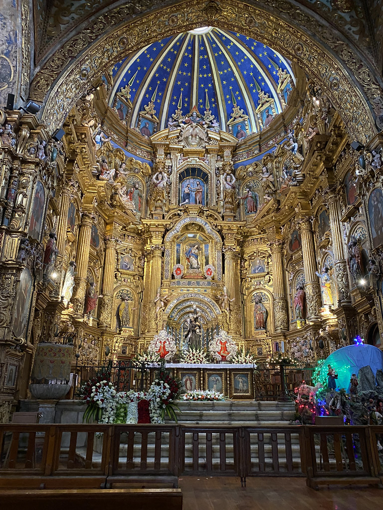 The High Altar, the Church of St. Francis at an elevation of 2,818 meters (9,245 ft) above sea level, Ecuador.