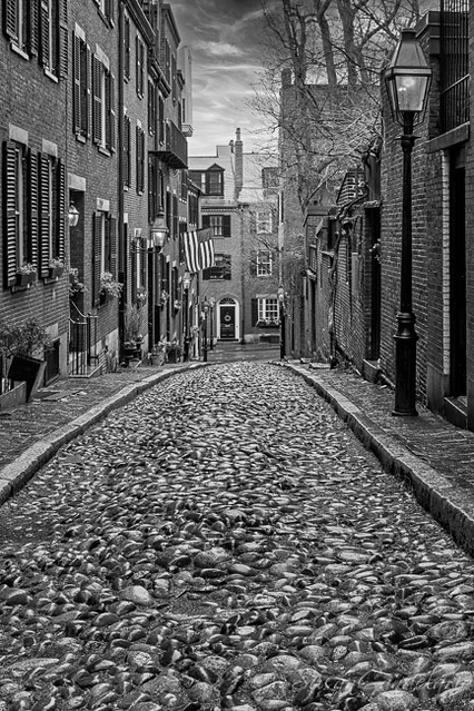 Acorn Street Boston BW
