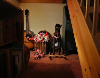 Under the stairs, where not so many goes, I found Santa's kids. Even Rudolf was there. Santa would never leave his kids alone, so he is here somewhere. I'll find out.