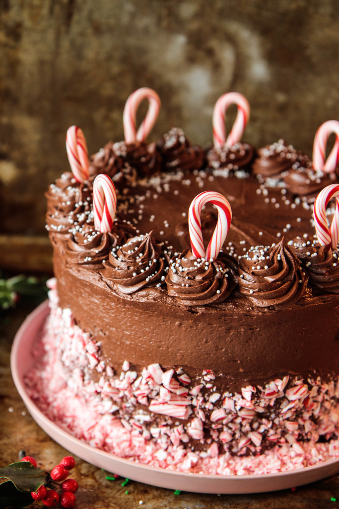 Chocolate Candy Cane Cake ( Vegan and Gluten-free ) from HeatherChristo.com