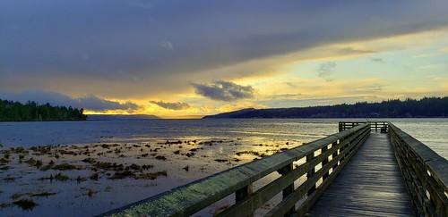 kitsappeninsula thelerwetlands galaxys9 hoodcanal hightide sunset cloudsstormssunsetssunrises saltwatermarsh olympicpeninsula