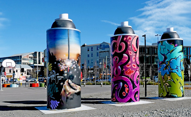 Paint cans three.