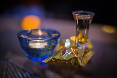 fortune cookie, candle, liquor