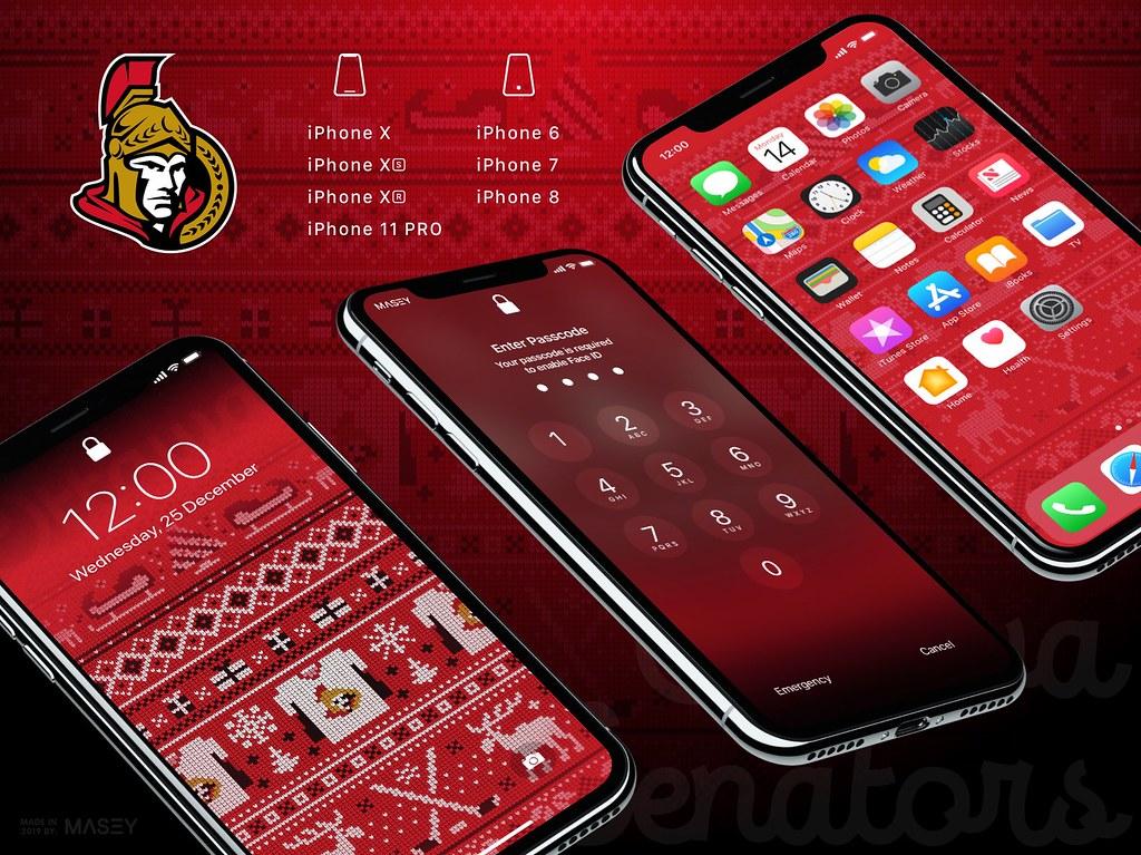 """Ottawa Senators Christmas """"Ugly Sweater"""" iPhone Wallpaper"""