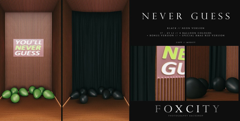 FOXCITY. Photo Booth – Never Guess (Black Neon)