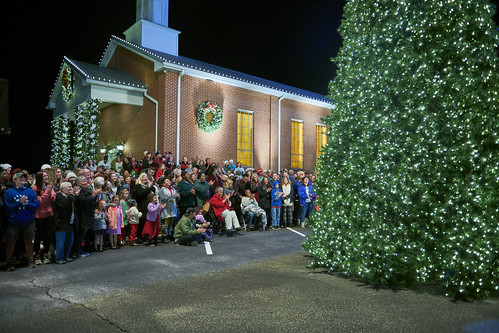 People from Beauregard look on during a Christmas tree lighting.