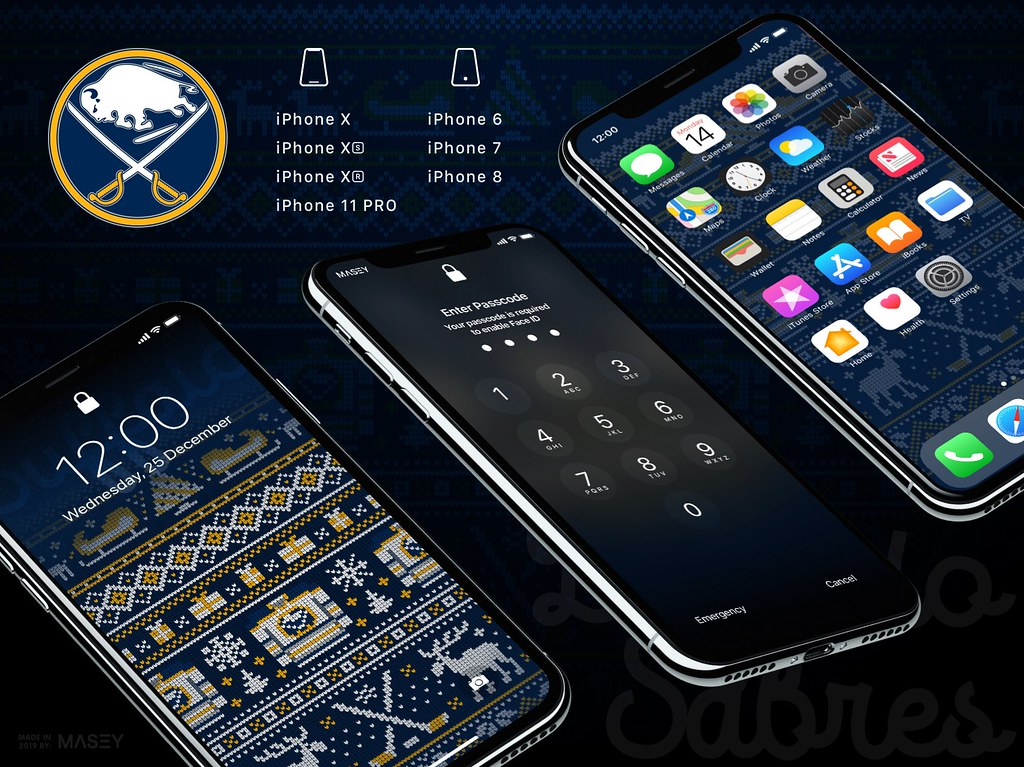 "Buffalo Sabres Christmas ""Ugly Sweater"" iPhone Wallpaper"