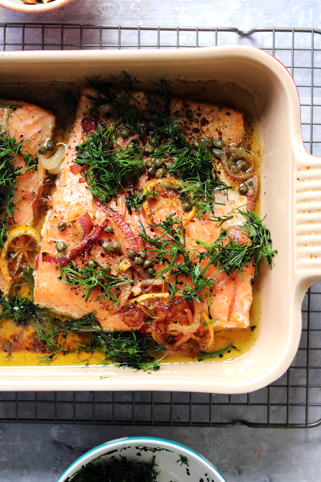 Brown Butter Salmon with Red Onion and Dill