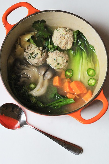 gingered-turkey meatball soup