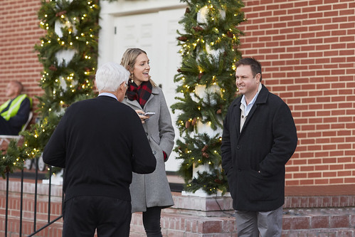 Jimmy Holcomb, right, works with two others during the filming of Project Christmas Joy in Beauregard, Alabama.