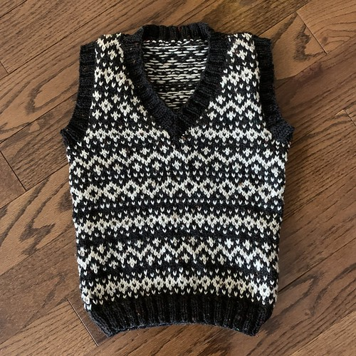 One of the vests I am knitting my grandsons is almost done! Ends to weave in and blocking!