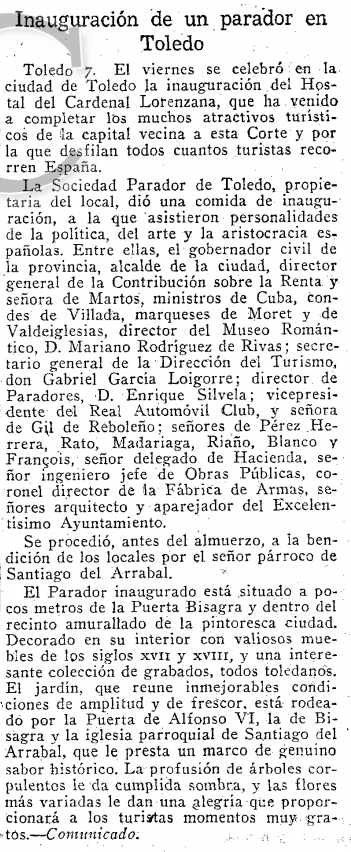 Inauguración del Hostal del Cardenal. Reseña del día siguiente, 8 de junio de 1952, en el ABC