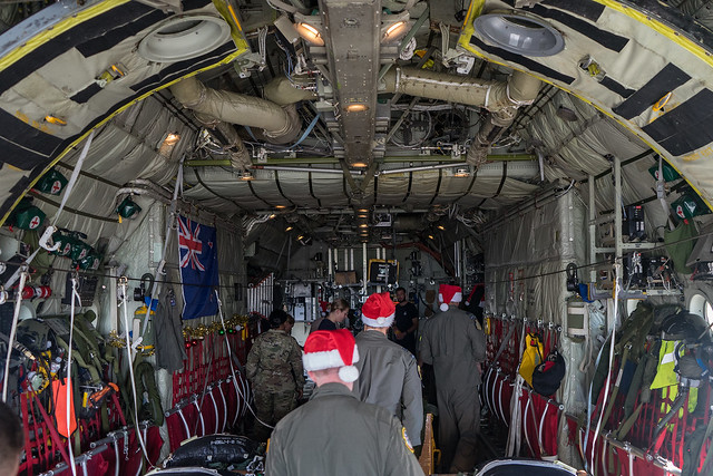 Aircrew prepare a Low-Cost,Low-Altitude bundle on board their C-130H Hercules as part of OCD 2019