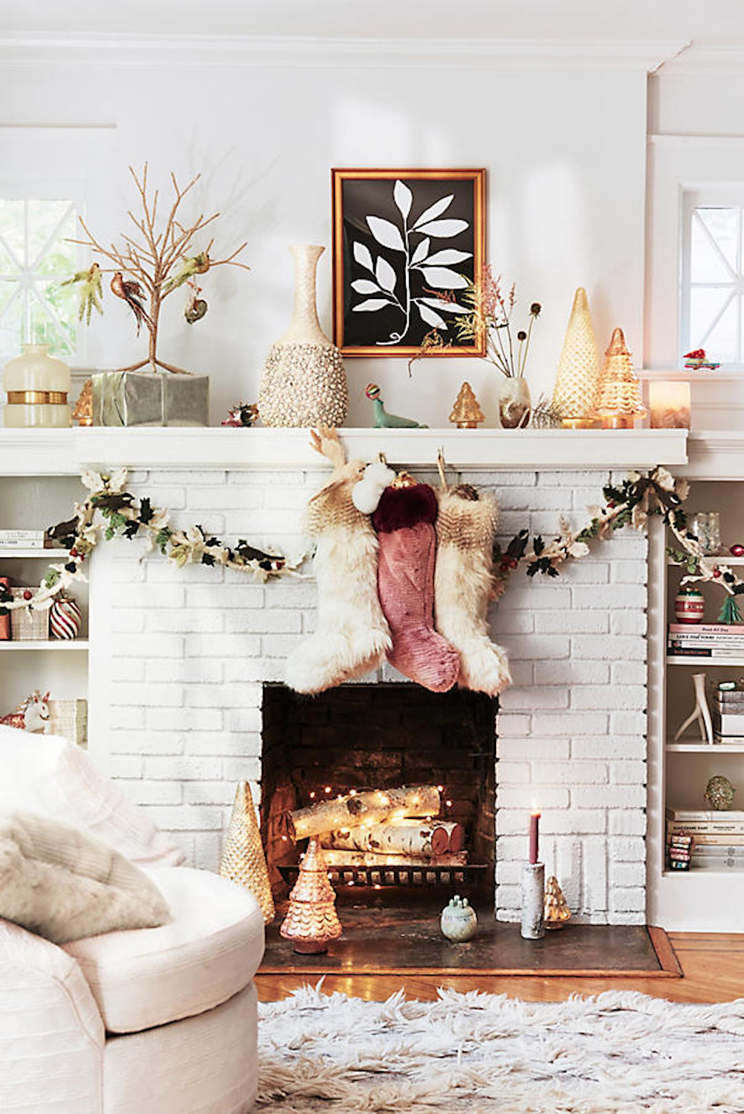 Eclectic Anthropologie Christmas Decor Vintage Mantle Fireplace