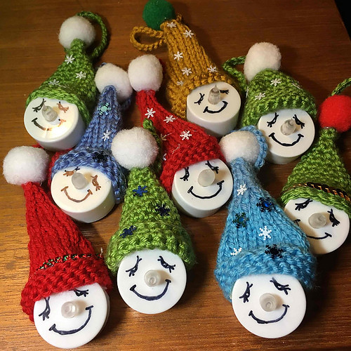 Sandi knit some and her daughter Tamsin crocheted some of these 2528k - Tea-Light Snowman Ornaments by Emi Harrington
