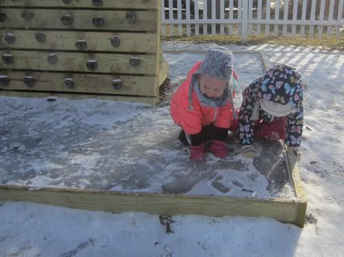 crouching on ice