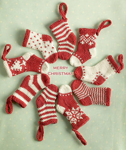 Little Cotton Rabbits (Julie Williams) Mini Christmas Stockings - free Ravelry Download