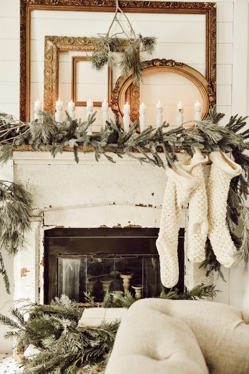 Vintage Gold Frames Mantle Decor Cozy Pine Garland Fireplace