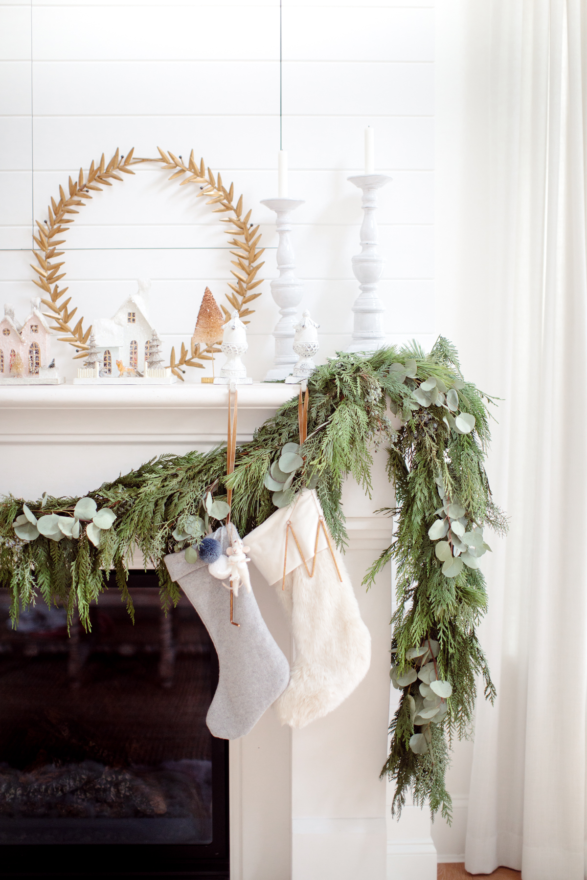 Evergreen Garland Mantle Fireplace Neutral White Christmas Decor