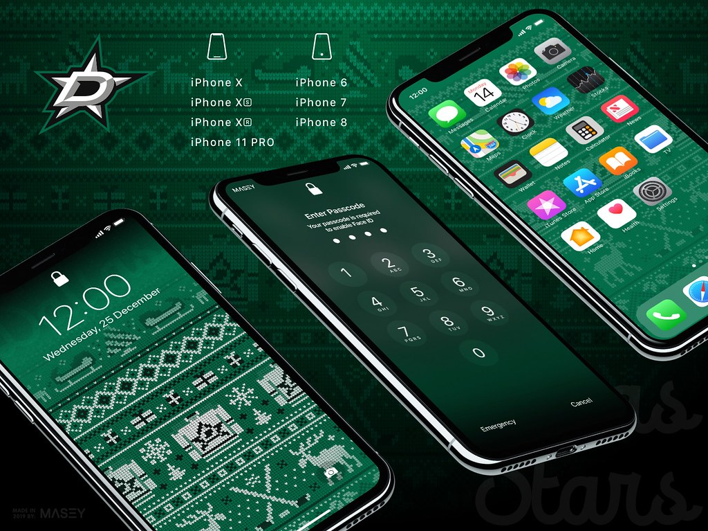 "Dallas Stars Christmas ""Ugly Sweater"" iPhone Wallpaper"