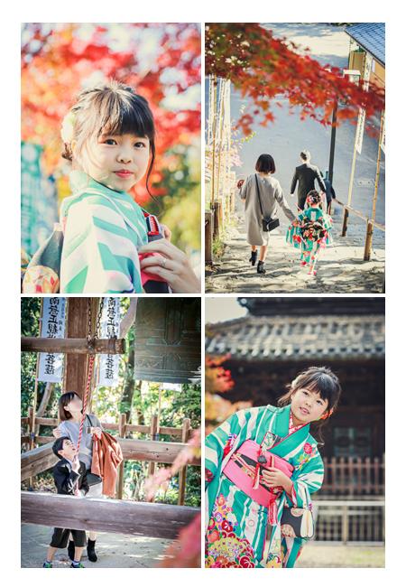 八事山興正寺で七五三のロケーションフォト 紅葉の季節 お寺を鐘をつく 名古屋市
