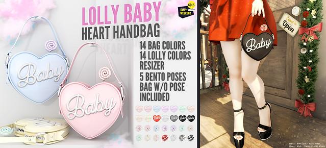 Blah. Happy Weekend Mainstore 60L$ SALE Event - Lolly Baby Heart Handbag ♥