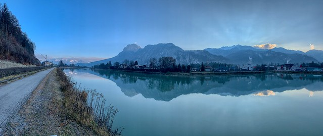 Autumnal morning panorama of river Inn and Kaiser mountains near Kufstein, Tyrol, Austria