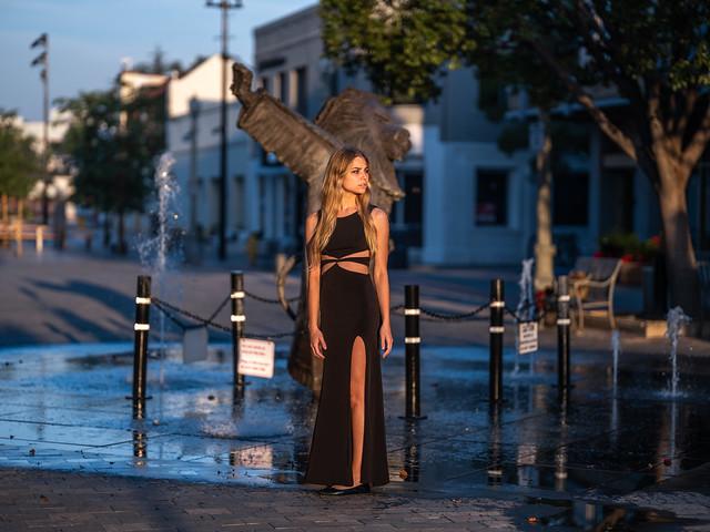 Amazing Bokeh! Beautiful Fountain Girl Goddess in Formal Black Dress! Pretty Elegant Blonde Woman! Fuji GFX100 Fine Art Portraiture! Elliot McGucken Medium Format dx4/dt=ic Fuji GFX 100 & Fujifilm Fujinon Gf 110mm F/2 R Wr Lm Lens for GFX MF Portraits!