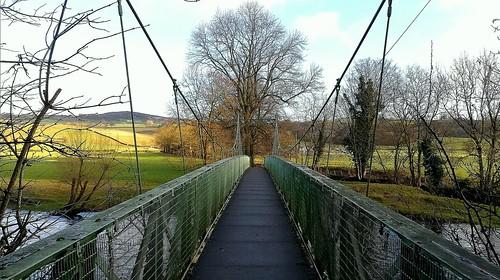 wednesdaywalk wharfedale footbridge suspension bridge riverwharfe yorkshire addingham ilkley beamsley moor victorian walking walk hiking hike outdoors river sky trees fields