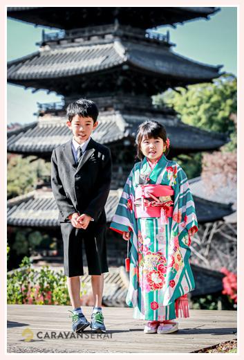 七五三 兄弟の写真 妹とお兄ちゃん 八事山興正寺の五重塔の前で 名古屋市