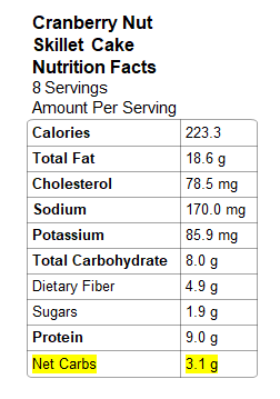 Photo: Nutrition Info - Cranberry Nut Cake
