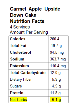 Image: Nutrition Info for Caramel Apple Cake