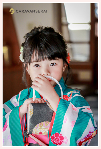七五三 7歳の女の子 緑と白のストライプの着物 バッグ