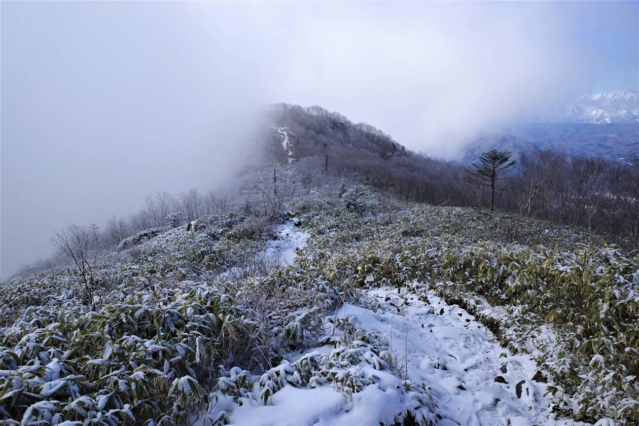飯縄山 ガスの中の雪山登山