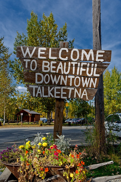 A Portrait Orientation of the Iconic Welcome Sign to Talkeetna