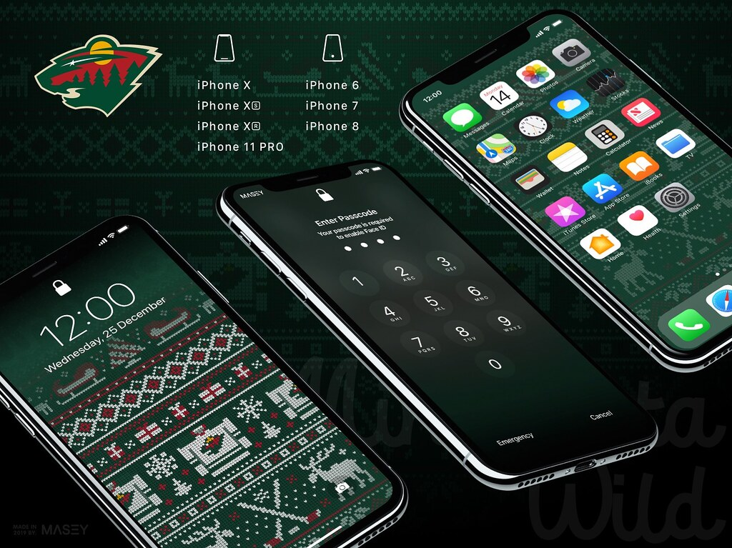 "Minnesota Wild Christmas ""Ugly Sweater"" iPhone Wallpaper"