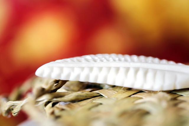 Carved Fern leaf over a woven bag