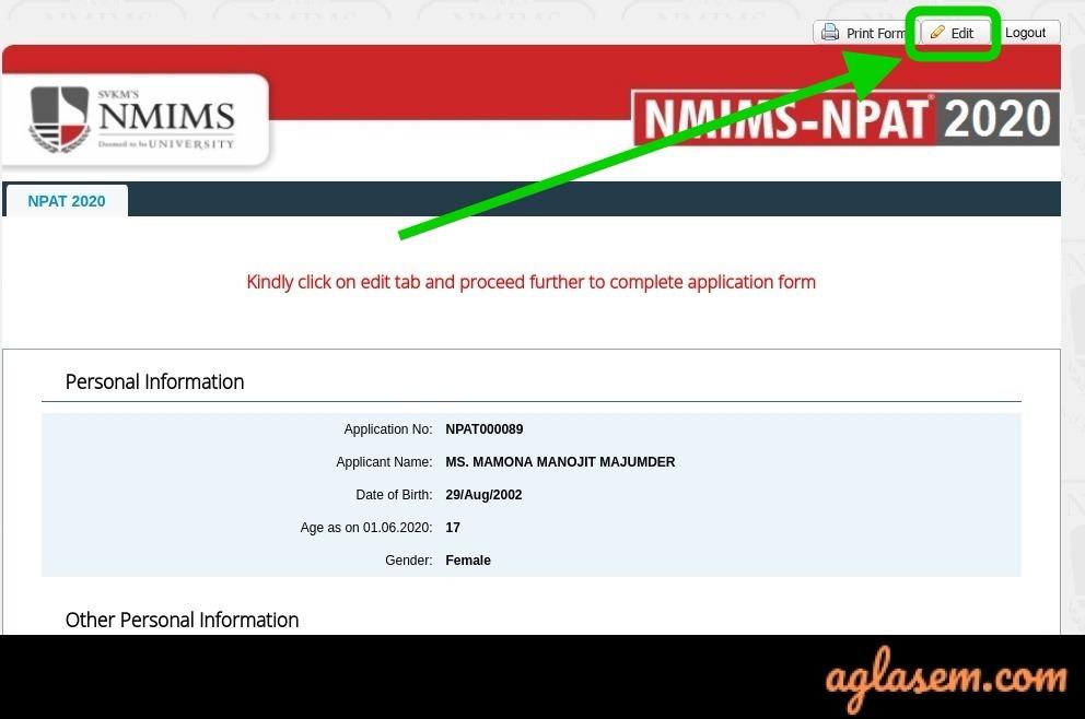 NPAT application form