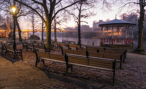 groves chester queens park suspension bridge cheshire winter sunrise cold misty mist festive banstand bench cobbles