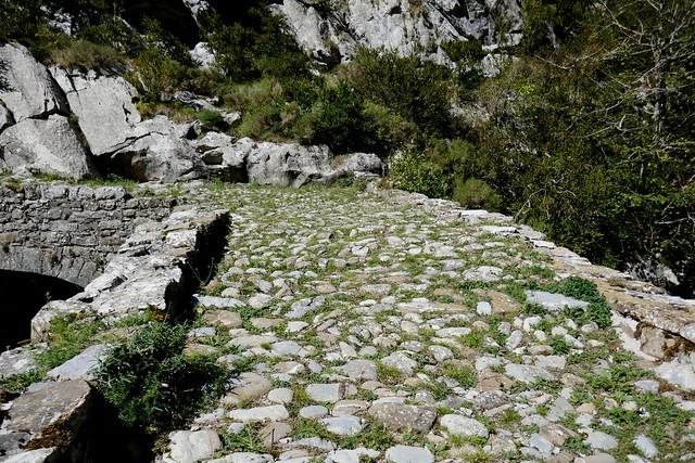 Chaussée romane sur le río Belagua, Izaba, Navarre, Espagne.