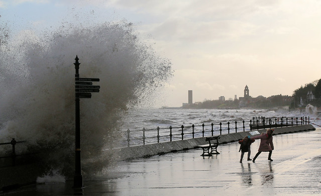 14th December 2019. Diving for Cover. On the Promenade at Vale Park, Wallasey, the Wirral, Cheshire