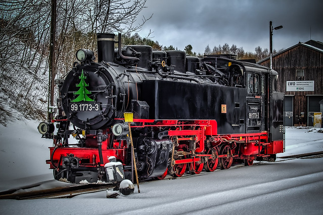 a wonderful narrow gauge steam locomotive in winter (a new picture from today december 14th in 2019)