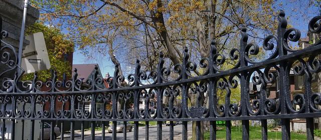 Palmerston Boulevard south gate ironwork, c1905, Little Italy, Toronto