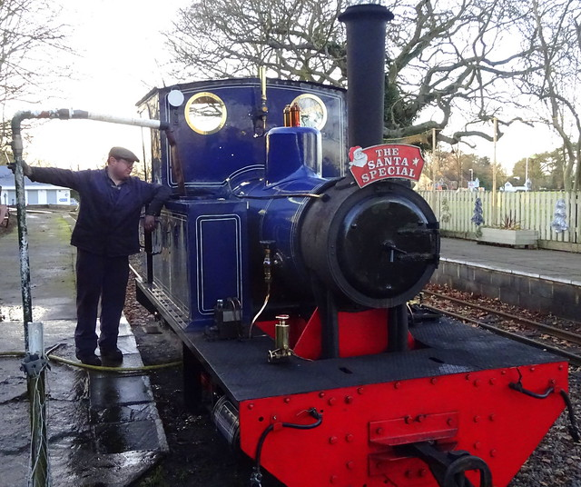 Fireman Owen Chapman watering No 4 Doll - Leighton Buzzard Railway 14 12 19