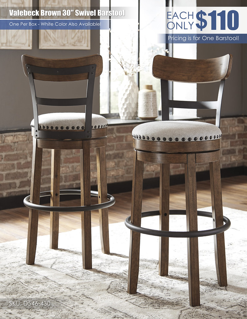 Valebeck Brown Swivel Barstool_30in_D546-430
