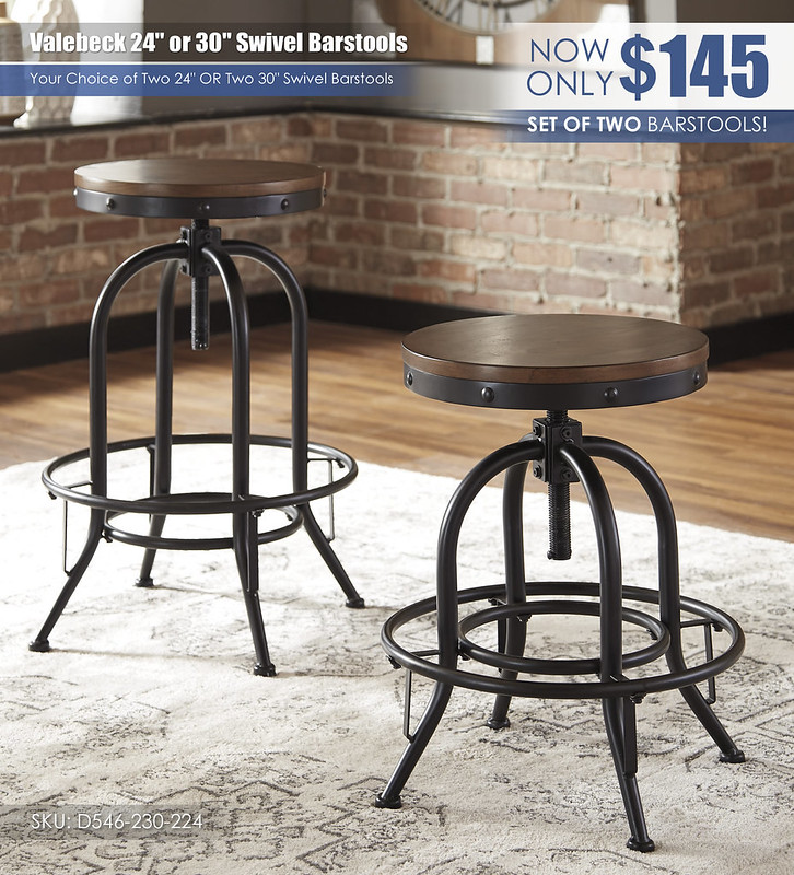 Valebeck Swivel Barstools 24 or 30in Set of 2_D546-230-224
