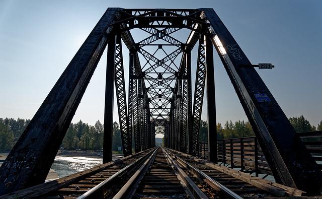 Steel Truss Bridge and Railroad Crossing