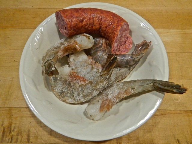 A Hunk of Sausage and Some Frozen Shrimp