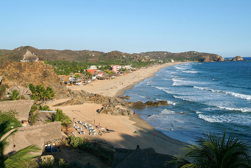 The Beach in Zipolite Near Mazunte