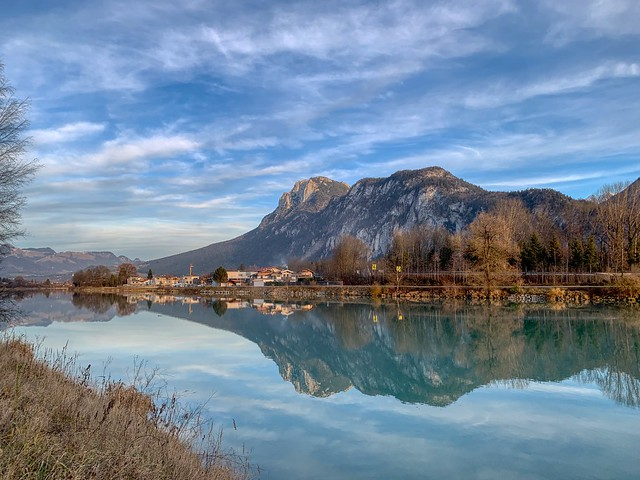 Autumnal morning by the river Inn with Kaiser mountains near Kufstein, Tyrol, Austria